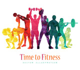 Time to fitness. Detailed vector illustration silhouettes strong people. Sport fitness, gym body-building, crossfit, workout, powerlifting. Healthy lifestyle. Vector illustration.
