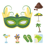 Country Brazil cartoon icons in set collection for design. Travel and attractions Brazil vector symbol stock web illustration. - 204527214