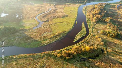 Plexiglas Honing Aerial view of natural river