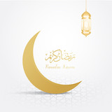 ramadan backgrounds crescent moon vector on arabic pattern gold background - 204539223