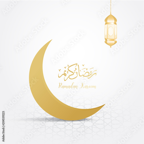 Poster ramadan backgrounds crescent moon vector on arabic pattern gold background
