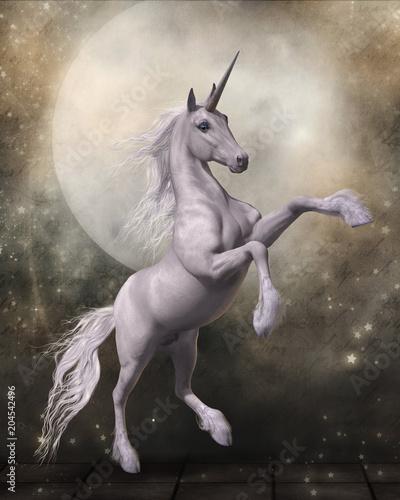 Magical Unicorn with Fairytale Moon - 204542496