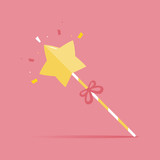 Cute and funny cartoon style magic wand with ribbon on pink background. - 204544042