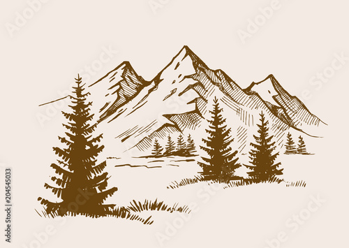 Wall mural illustration of mountain landscape