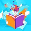 Un ragazzo assorto nella lettura di un libro che stimola la sua immaginazione - 204545495