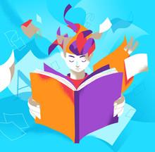 Un Ragazzo Assorto Nella Lettura Di Un Libro Che Stimola La Sua Immaginazione Sticker