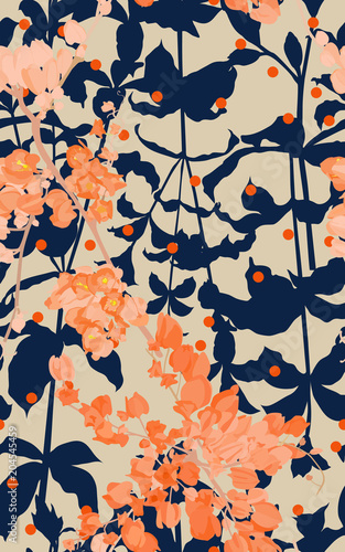 coral vine and leaves pattern vintage © Wattanachai