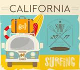 Surfing Retro Hawaii Poster - 204545826