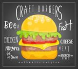 Big Burger on Black Background - 204545896
