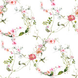 Watercolor painting of leaf and flowers, seamless pattern on white background - 204546038