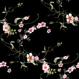Watercolor painting of leaf and flowers, seamless pattern on dark background - 204546043