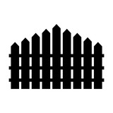 Simple, black silhouette illustration of a picket fence. Isolated on white