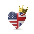 Heart shape with american and Great Britain flag with gold crown. Royal wedding concept. 3D Rendering - 204546249