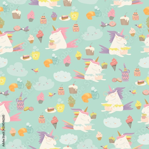 Cotton fabric Vector cartoon seamless pattern unicorn with cake and coffee