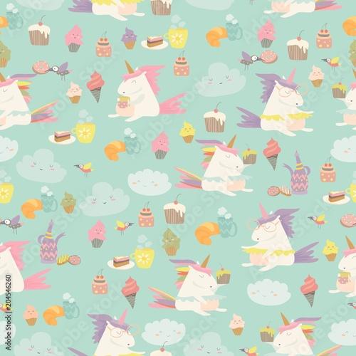Stoffe zum Nähen Vector Cartoon Musterdesign Einhorn mit Kaffee und Kuchen