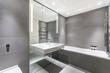 Quadro modern minimalist bathroom in gray and white