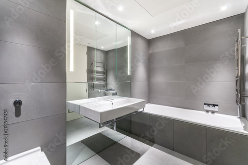 modern minimalist bathroom in gray and white
