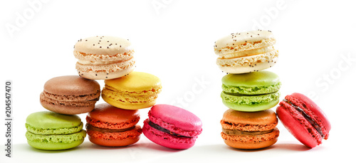 Plexiglas Macarons Fresh bright colored Macarons insolated on white background