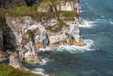Stunning limestone cliffs at Magheracross viewpoint. White Rocks on Causeway Coastal Route, Portrush, Northern Ireland
