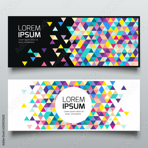 Banners triangle geometric colorful collections background, vector illustration