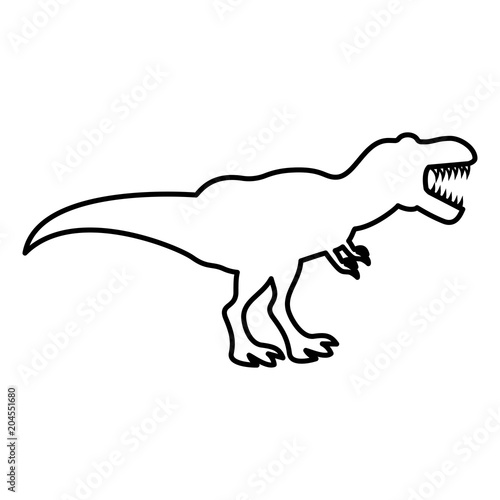 Fototapeta Dinosaur tyrannosaurus t rex icon black color illustration flat style simple image