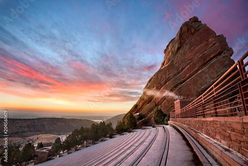 Aluminium Zonsopgang Red Rocks at sunrise in the winter, near Denver Colorado