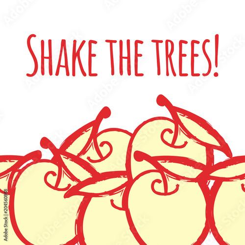 Fototapeta Shake the trees! Fun illustration with quote