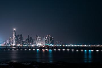 modern skyline at night - skyscraper cityscape, Panama City -