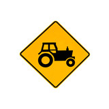 Australian traffic warning road sign for tractors on the road and highways of Australia. Isolated on white. - 204564489