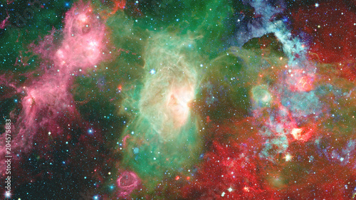 Nebula and stars in outer space. Elements of this image furnished by NASA. - 204575883