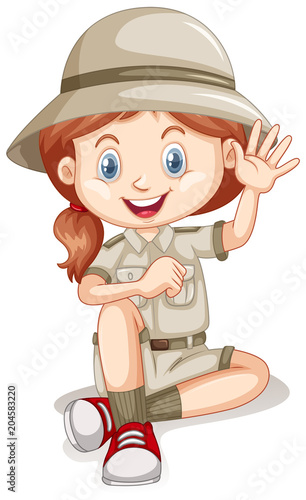 Fridge magnet A Young Safari Girl on White Background