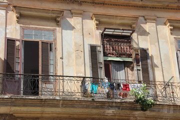 Laundry drying on the balcony in Havana, Cuba