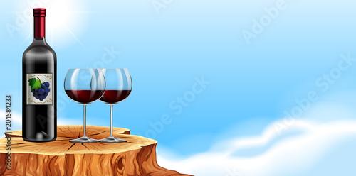 Fototapeta A Bottle or Red Wine