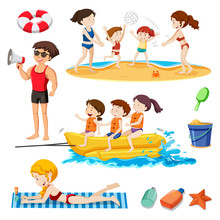 A Beach Set Activity And People Sticker