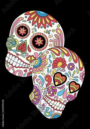 Day of The Dead colorful Sugar Skulls with Flowers Pattern. Design elements label, emblem, poster, t-shirt. Vector illustration - 204595038
