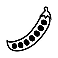 Peas in a peapod or pea pod flat line art icon for food apps and websites
