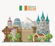 Ireland vector illustration with landmarks, irish castle, green fields. - 204599295