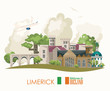Ireland vector illustration with landmarks, irish castle, green fields. Limerick - 204599623