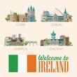 Ireland vector illustration with landmarks, irish castle, green fields. - 204599661