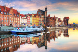 Beautiful old town of Gdansk reflected in Motlawa river at sunrise, Poland. - 204606276