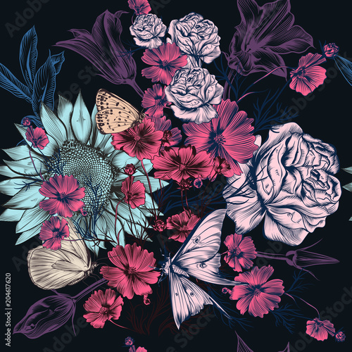 Vector pattern with hand drawn flowers in vintage style - 204617620