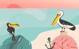Hand drawn vector abstract cartoon summer time graphic illustrations art template background with ocean beach landscape,beauty toucan and pelican birds,sundown with copy space place for your design - 204618088
