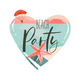 Hand drawn vector abstract cartoon summer time beach graphic illustrations art template logo background in heart shape with ocean beach landscape,pink sunset view,and Beach party typography text - 204618220