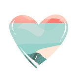 Hand drawn vector abstract cartoon summer time beach graphic illustrations art template logo background in heart shape with ocean beach landscape,pink sunset view,and copy space place for your design - 204618243