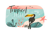 Hand drawn vector abstract cartoon summer time graphic illustrations art template banner background with ocean beach landscape,pink sunset view,beauty toucan with Tropical Beach typography quote - 204618412