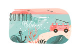 Hand drawn vector abstract cartoon summer time graphic illustrations art template banner background with ocean beach landscape,pink sunset view,van camper car and Summer Holidays typography quote - 204618452