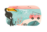Hand drawn vector abstract cartoon summer time graphic illustrations art banner background with ocean beach landscape,pink sunset view,van camper car,toucan and copy space place isolated on white - 204618460