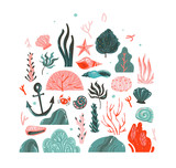 Hand drawn vector abstract cartoon graphic summer time underwater illustrations art collection set with coral reefs,seaweeds,starfish,crab,anchor,stones and sea shells isolated on white background - 204619615