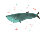 Hand drawn vector abstract cartoon graphic summer time underwater illustrations with coral reefs and beauty big whale character isolated on white background - 204619651