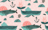 Hand drawn vector abstract cartoon graphic summer time underwater ocean bottom illustrations seamless pattern with coral reefs,beauty big whales,seaweeds and anchor isolated on pink pastel background - 204619684